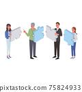 業務概念拼圖和商務人士的插圖 75824933