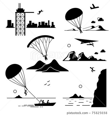 Extreme Sports - Base Jumping, Parachuting, Paragliding, Hang Gliding, Parasailing, Cliff Jump - Stick Figure Pictogram Icons Cliparts.  75825038