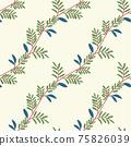 Beautiful children's elements birds and plants seamless pattern 75826039