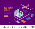 Buy airline ticket online isometric landing page 75826690
