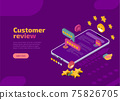 Customer review, evaluation and feedback isometric landing page 75826705