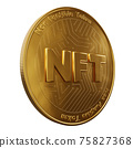 Nft - non fungible token concept. 3d render - Coin with inscription NFT 75827368