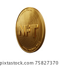 Nft - non fungible token concept. 3d render - Coin with inscription NFT 75827370