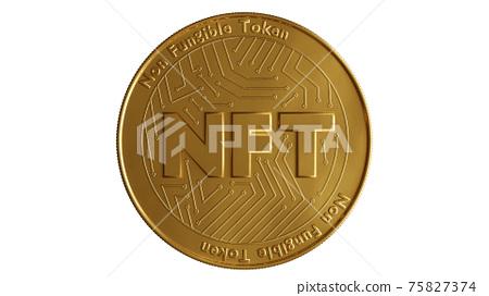 Nft - non fungible token concept. 3d render - Coin with inscription NFT 75827374