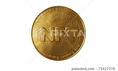 Nft - non fungible token concept. 3d render - Coin with inscription NFT 75827376
