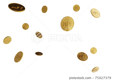 Nft - non fungible token concept. 3d render - Coin with inscription NFT 75827379