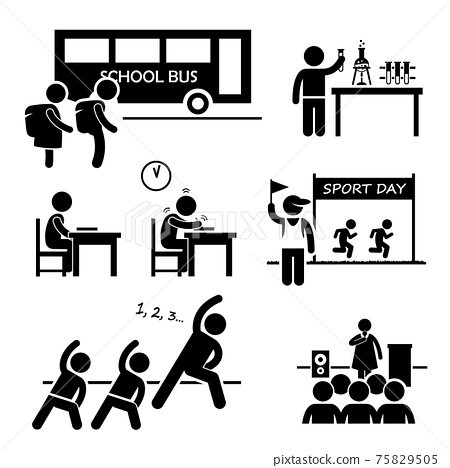 School Activity Event for Student Stick Figure Pictogram Icon Clipart. A set of pictograms representing school activities by school children. 75829505