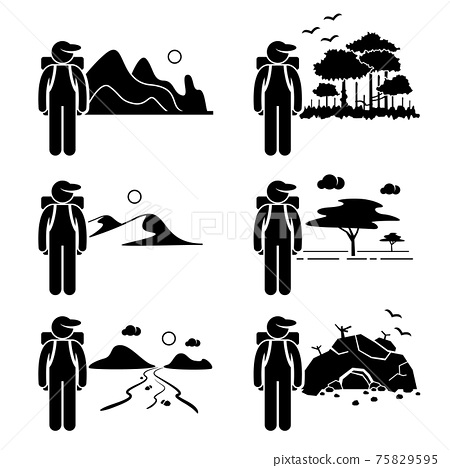 Explorer Adventure at Mountain Rainforest Desert Savanna River Cave Stick Figure Pictogram Icon.  75829595