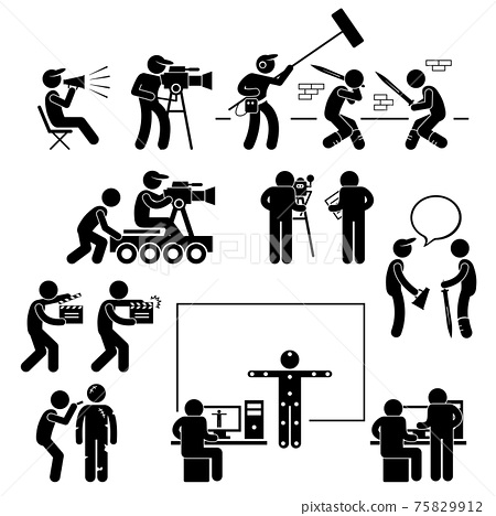 Director Making Filming Movie Production Actor Stick Figure Pictogram Icon. A set of pictograms representing film making scenario with the director, crews, and actors. 75829912