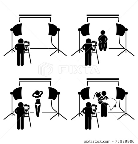 Photographer Studio Photography Shoot Stick Figure Pictogram Icon. This is a set of pictograms that represent photographer taking pictures of a man, female model, and wedding couple in a studio. 75829986