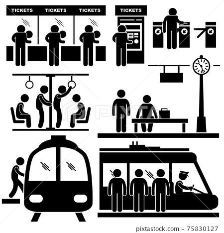 Train Commuter Station Subway Man Passengers Stick Figure Pictogram Icon. A set of pictograms representing in the train station and at the subway. 75830127