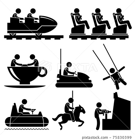 Amusement Theme Park Playing Stick Figure Pictogram Icon. A set of pictograms representing enjoying themselves in a theme park. 75830399