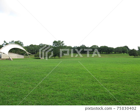 Chiba Port Park in summer (circular lawn open space, outdoor stage, hill with a view) 75830402