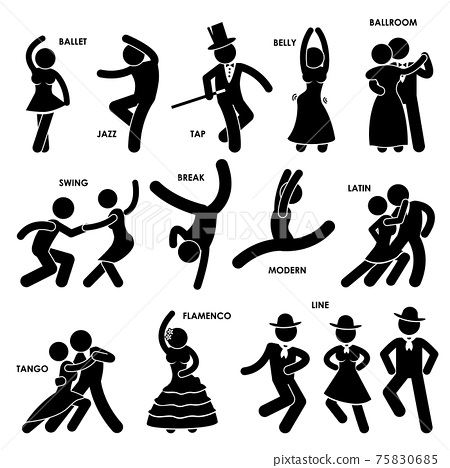 Dancing Dancer Ballet Jazz Tap Belly Ballroom Swing Break Modern Latin Tango Flamenco Line Stick Figure Pictogram Icon. A set of pictogram representing dancing style of various type. 75830685