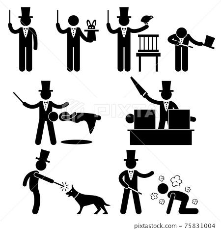 Magician Magic Show Icon Symbol Sign Pictogram. A set of pictograms representing magician doing magic. 75831004