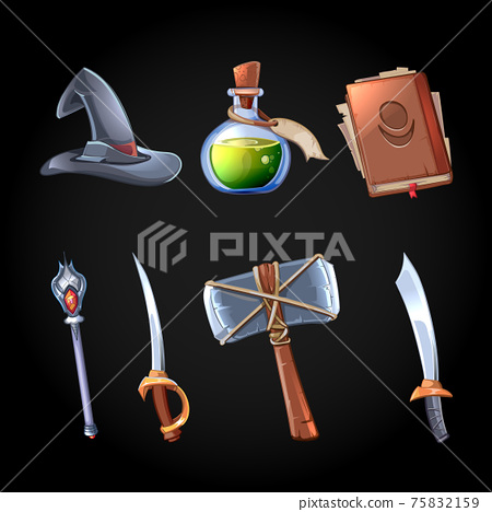 Cartoon fantasy magic and weapons vector icons set for computer game 75832159