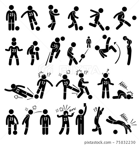Football Soccer Player Footballer Actions Poses Stick Figure Pictogram Icons. A set of stickman pictogram representing footballer actions, skills, and poses.  75832230