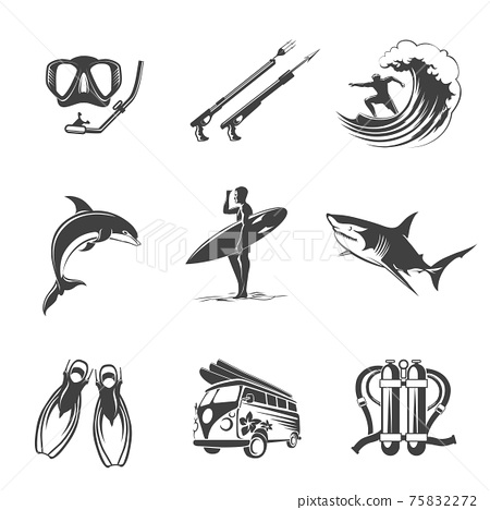 Beach icons black set. Summer, vacation and tourism signs 75832272