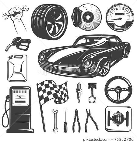 Car Repair Garage Icon Set 75832706