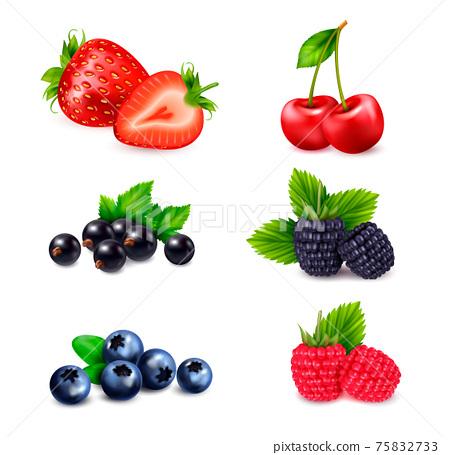 Berry Fruits Realistic Set 75832733