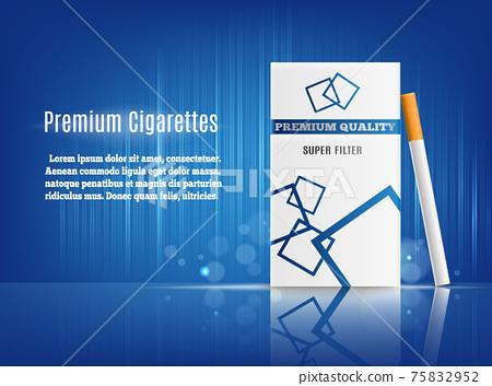 Cigarettes Advertisement Realistic Composition 75832952