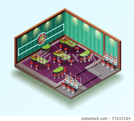 Casino Hall Isometric Interior 75833184