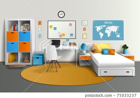 Teenager Room Interior Design Realistic Image 75833237