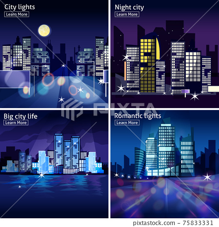 City Nightscape Icon Set 75833331