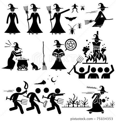 Evil Witch Hunt Witchcraft Black Magic Stick Figure Pictogram Icons. Human pictogram representing witch.  75834353