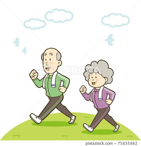 步行移動身體的一對高級夫婦的插圖 75835862