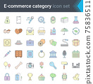 Online shopping and e-commerce category linear colorful icons set isolated on white background. High quality vector 75836511