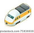 Express train, a digital painting of modern transportation electric railway locomotive isometric cartoon icon raster 3D illustration on white background. 75836936