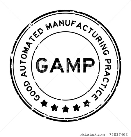Grunge black GAMP Good Automated Manufacturing Practice word round rubber seal stamp on white background 75837468