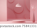 Abstract geometric shape pink color minimalistic scene with podium 75841331