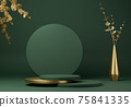 Abstract geometric shape green color minimalistic scene with podium 75841335