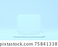 Blue laptop with blank screen mockup on blue background 75841338
