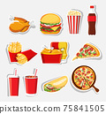 Fast food set, Isolated vector fast food icons 75841505