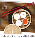 Dimsum, Chinese dumplings and bun, Vector 75841506