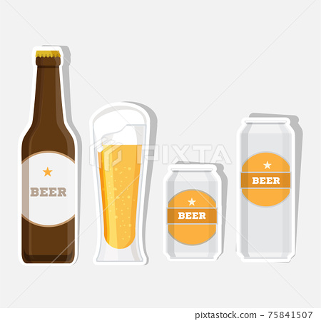 Set of beer bottle, mugs can and glasses. Vector flat icons set. 75841507