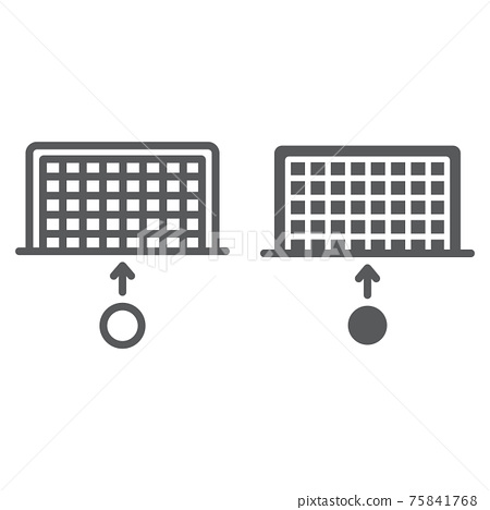 Soccer gate line and glyph icon, sport and football, penalty sign, vector graphics, a linear pattern on a white background. 75841768