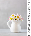 Beautiful daisy flowers in ceramic white vase on ultimate gray background 75842647