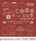 Illustrations of various sweets-8 / Simple line drawing / Bordeaux 75853860