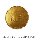 Nft - non fungible token concept. 3d render - Coin with inscription NFT 75854958