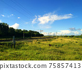 Rural landscape on a summer day with railroad crossing 75857413