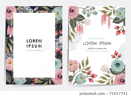 Vector illustration of a floral frame set in spring for Wedding, anniversary, birthday and party. 75857741