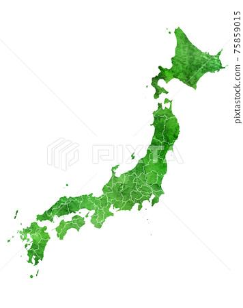 日本地圖水彩圖標 75859015