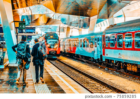 DRESDEN,GERMANY-SEPTEMBER 10,2015: Intercity train at the railways station of Prague. Rail transport in Czech Republic is at a high level of progress. 75859285