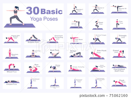 Set Of Various Yoga Poses and Fitness Exercises With Relax, Meditate, Healthy Lifestyle, Balance Training. Illustration 75862160