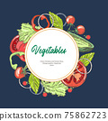 Vegetarian food. Background with different vegetables. Tomatoes and paprika. Vintage graphics. Vegetarian menu. Square banner. 75862723