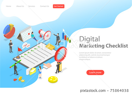 Isometric flat vector landing page template of marketing checklist. 75864038